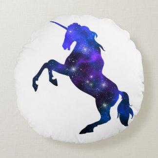 Galaxy  blue beautiful unicorn sparkly image round pillow