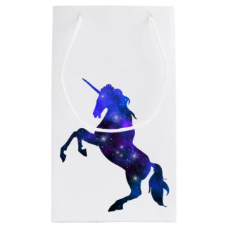 Galaxy  blue beautiful unicorn sparkly image small gift bag