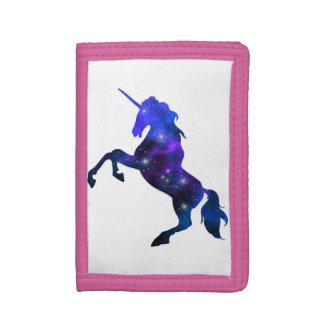 Galaxy  blue beautiful unicorn sparkly image tri-fold wallet