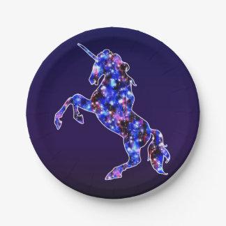 Galaxy blue beautiful unicorn starry sky image 7 inch paper plate