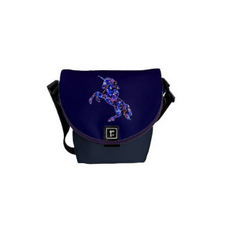 Galaxy blue beautiful unicorn starry sky image commuter bag