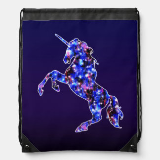 Galaxy blue beautiful unicorn starry sky image drawstring bag