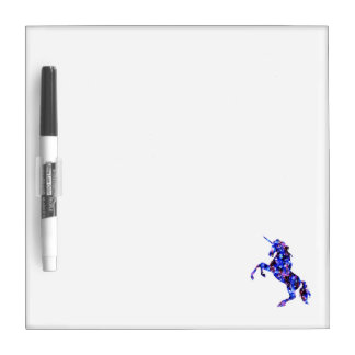 Galaxy blue beautiful unicorn starry sky image dry erase board