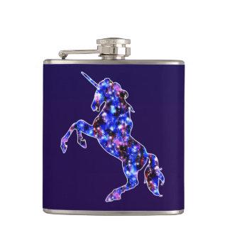 Galaxy blue beautiful unicorn starry sky image hip flask