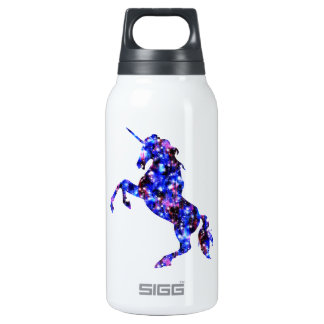 Galaxy blue beautiful unicorn starry sky image insulated water bottle