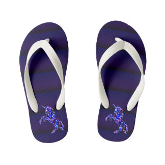 Galaxy blue beautiful unicorn starry sky image kid's flip flops