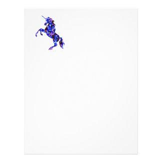 Galaxy blue beautiful unicorn starry sky image letterhead