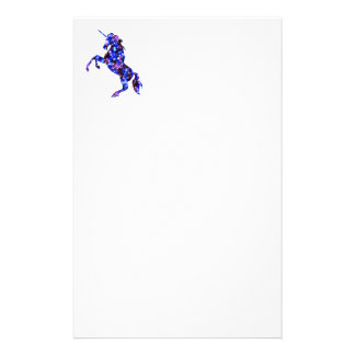 Galaxy blue beautiful unicorn starry sky image stationery paper