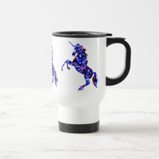 Galaxy blue beautiful unicorn starry sky image travel mug