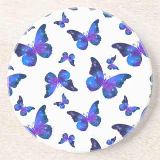 Galaxy butterfly cool blue white pattern coaster