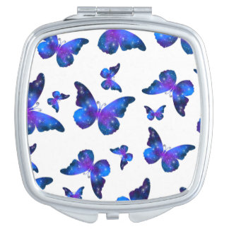 Galaxy butterfly cool blue white pattern compact mirror