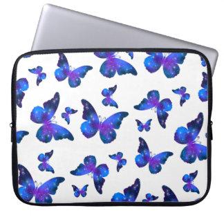 Galaxy butterfly cool blue white pattern laptop sleeve