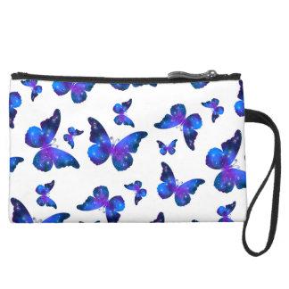 Galaxy butterfly cool blue white pattern suede wristlet