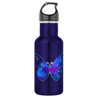 Galaxy butterfly cool dark blue illustration 532 ml water bottle