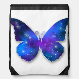 Galaxy butterfly cool dark blue illustration drawstring bag