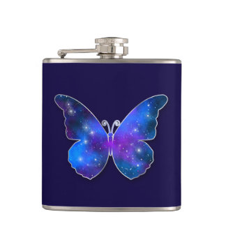 Galaxy butterfly cool dark blue illustration hip flask
