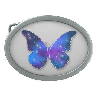 Galaxy butterfly cool dark blue illustration oval belt buckle