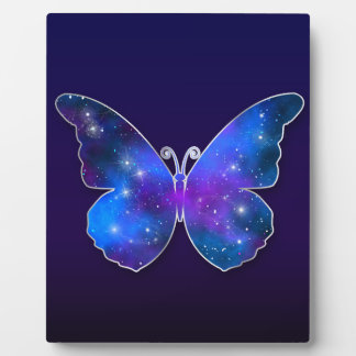 Galaxy butterfly cool dark blue illustration plaque
