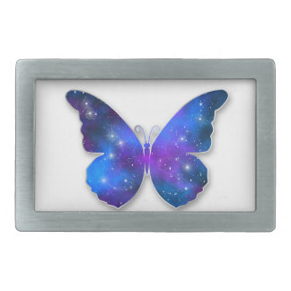 Galaxy butterfly cool dark blue illustration rectangular belt buckle
