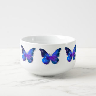 Galaxy butterfly cool dark blue illustration soup bowl with handle