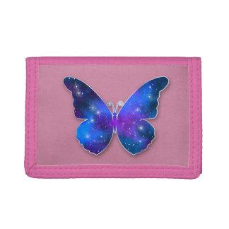 Galaxy butterfly cool dark blue illustration trifold wallet