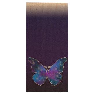 Galaxy butterfly cool dark blue illustration wood USB flash drive