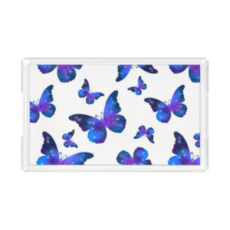 Galaxy butterfly cool dark blue pattern acrylic tray