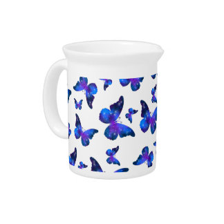 Galaxy butterfly cool dark blue pattern beverage pitcher
