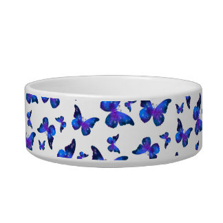 Galaxy butterfly cool dark blue pattern bowl