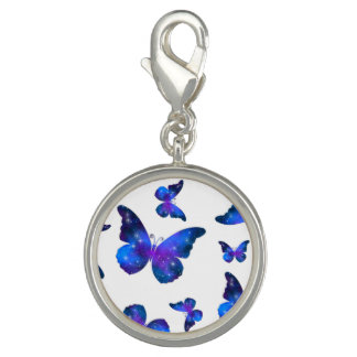 Galaxy butterfly cool dark blue pattern charm