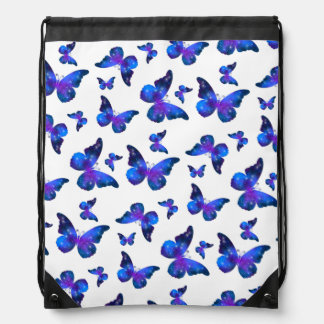 Galaxy butterfly cool dark blue pattern drawstring bag