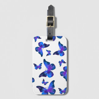Galaxy butterfly cool dark blue pattern luggage tag