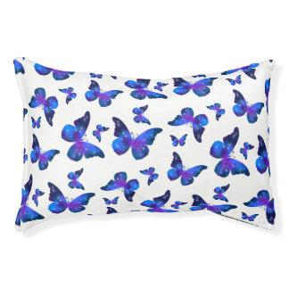 Galaxy butterfly cool dark blue pattern pet bed