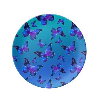 Galaxy butterfly cool dark blue pattern plate