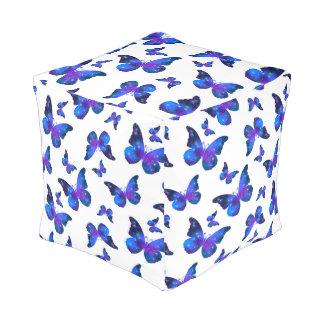Galaxy butterfly cool dark blue pattern pouf