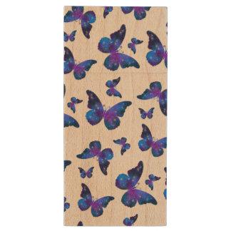 Galaxy butterfly cool dark blue pattern wood USB flash drive