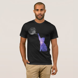 Galaxy Cat Attacking A Ball Of Moon Yarn T-Shirt