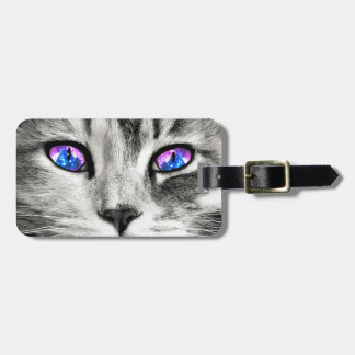 Galaxy Cat Eyes Custom Name Luggage Tag