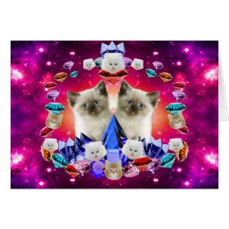 galaxy cat in diamond card