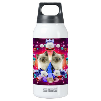 galaxy cat in diamond insulated water bottle