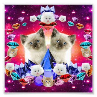 galaxy cat in diamond photo print