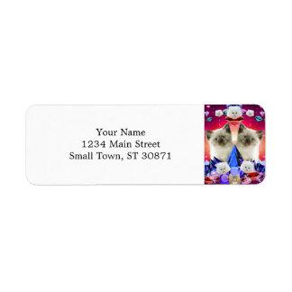 galaxy cat in diamond return address label