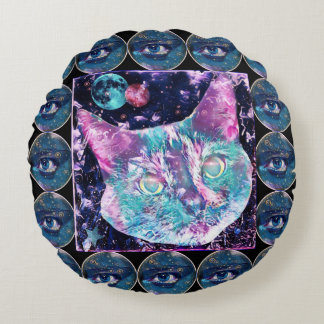 Galaxy Cat Round Pillow