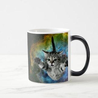 Galaxy Cat Universe Kitten Launch 11 Oz Magic Heat Color-Changing Coffee Mug