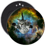 Galaxy Cat Universe Kitten Launch 6 Inch Round Button