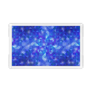 Galaxy crystal Blue polygonal facet pattern Acrylic Tray