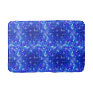 Galaxy crystal Blue polygonal facet pattern Bathroom Mat