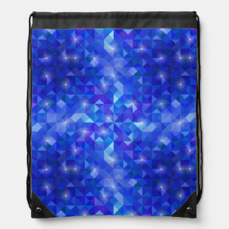 Galaxy crystal Blue polygonal facet pattern Drawstring Bag
