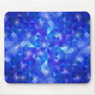 Galaxy crystal Blue polygonal facet pattern Mouse Pad