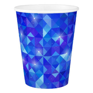 Galaxy crystal Blue polygonal facet pattern Paper Cup
